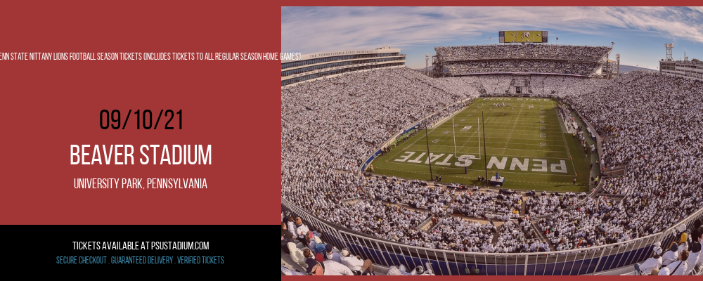 2021 Penn State Nittany Lions Football Season Tickets (Includes Tickets To All Regular Season Home Games) at Beaver Stadium